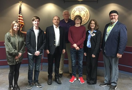 Pictured, from left to right; Tara Davis (BCHS senior), Gideon Ratcliff (BCHS senior), Dee Burris (owner of Burris Construction), Thomas Crye (Bradley County commissioner), Cole Burris (Burris Construction), Dr. Linda Cash (BCS director of schools) and Mr. Gwen Shroyer (BCHS A/V Production instructor).