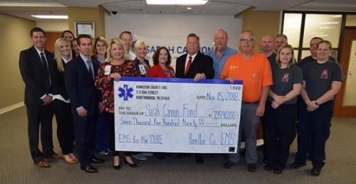 Pictured, front row from left to right, Dan Astleford, Liz Bagwell, Tom Jack, Robin Marsh, Deborah Deal, Hamilton County Mayor Jim Coppinger, Volunteer Window Tinting Greg Craven, HCEMS Brandy Rogers and Tracie Shannon; back row from left to right, ParkRidge Nurse Elizabeth Spivey, Megan Pope, Kelsey Morton, Megan Mitchell, Senator Bo Watson, Volunteer Window Tinting Tim Bankston, HCEMS Chris Blackwell, Chris Dill and David Burdett.