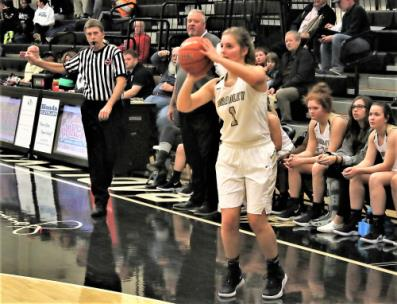 Senior guard Kaleigh Hughes stops and pops a 3-point shot during Bradley Central's 59-45 victory over Creekview (Georgia) Friday in the opening game of the Holiday Inn Express Thanksgiving tournament at Jim Smiddy Arena. Hughes finished with 16 points that included four 3-pointers.