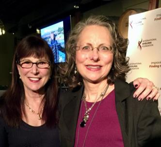 Susie Novis-Durie, founder and president of the International Myeloma Foundation, with Linda Huguelet, myeloma patient