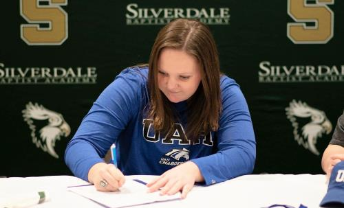 Silverdale Baptist Academy's Maddie Tankersley signed a softball scholarship with Alabama-Huntsville on Wednesday. Tankersley pitched all five Division II-A state tournament games last spring and led the Lady Seahawks to the school's first championship.