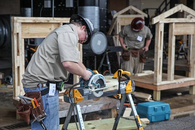 Carpentry contestants competing in the High School SkillsUSA regional qualifier held at Georgia Northwestern Technical College's Walker County Campus on Nov. 30