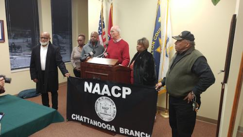 Sheriff Hammond with NAACP leaders, commissioners at press conference