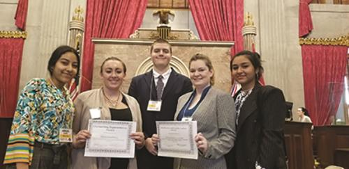 CSCC had five students participate in the Tennessee Intercollegiate State Legislature (TISL) held at the state capitol. Shown are Abigail Flores, Amanda Forbes, Justin Godfrey, Cassieopeia Blackburn and Jannat Saeed.