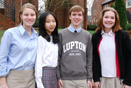Model UN award winners are, from left, Caroline Moons, Erica Wu, Ridley, Browder, and Sophie Peirano.  Not pictures is Jade Liu.