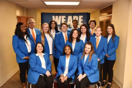 The new Chattanooga State Ambassadors, from left, first row, Chelsea Isbill, McKenzie Bramlett, and Savannah Stull. Second row, LaTerrinique Ford, Hayley McNeal, Jordan Petty, Ester Ryabchuk, Rachel Woodward, Tyler Gentile, and Gabrielle Humble. Third row, James Fry, Britten Bryant, Alan Eady Jr., and Noah Harris.