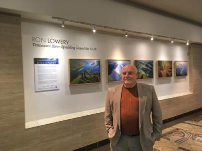 Ron Lowery with his Arts at the Airport Flying Solo exhibit at the Nashville International Airport