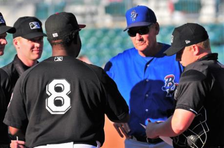 2018 Lookouts manager Tommy Watkins shakes hands with Jody Davis, manager of Pensacola and the Lookouts 2019 manager.