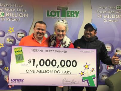 Ortez, Jaime, Lottery CEO Rebecca Hargrove, and friend