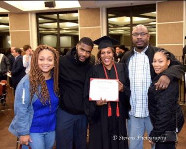 Takesha Pratt, daughter-in-law, Chadrick Pratt, son, Ramona Pratt, graduate, Quincy Walker, son-in-law, Tamesha Walker, daughter