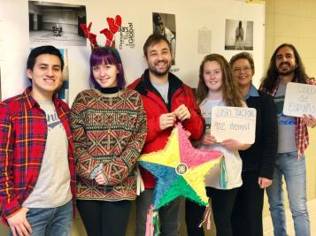 Chattanooga State Community College students, faculty and staff eagerly await the annual food drive that benefits LaPaz. They distributed 3,236 food items this year. Shown from left to right are Spanish Club officers Thony Bazán and Olivia Torbett; Josh Tucker, most donations award recipient; Olivia Avans club officer; and Katheryn Thompson and Juan Antonio Alonso, club advisors.
