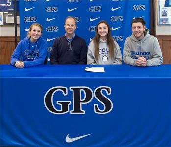 Pictures left to right: Assistant Varsity Soccer Coach Ashley Linehart, Head Varsity Coach Patrick Winecoff, Anna Salisbury, and Assistant Varsity Soccer Coach Andy Sarjant.