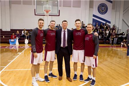 2017-18 Seniors  (L-R) Levi Woods, Chase Cullen, coach Bubba Smith, Isaac Merian, Bryce Copeland.