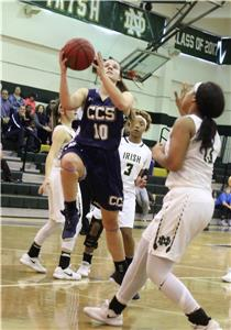 CCS's Addie Henry takes the ball to the basket in their consolation win over Notre Dame on Saturday.