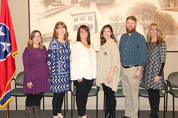 2018 System-Level Teachers of the Year, shown from left to right: Adelia Hall, Oak Grove Elementary School; Denise George, Charleston Elementary School; LeAnn Klepzig, Walker Valley High School; Krislyn Martin, Arnold Memorial Elementary; Josh Foggin, Cleveland Middle School and Valerie Capps, Cleveland High School.