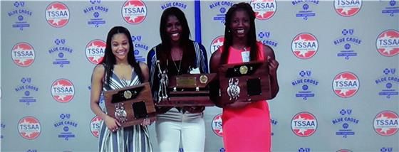 Rhyne Howard of Bradley Central was named the 2018 Class 3A Miss Basketball award winner Tuesday in Murfreesboro. Howard, center, is flanked by Riverdale's Brinae Alexander, left, and Ridgeway's Elizabeth Dixon.