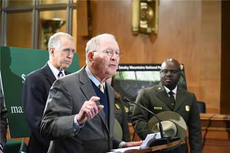 United States Senator Lamar Alexander hosted Interior Secretary Ryan Zinke and Great Smoky Mountains National Park Superintendent Cassius Cash at a press conference in Washington