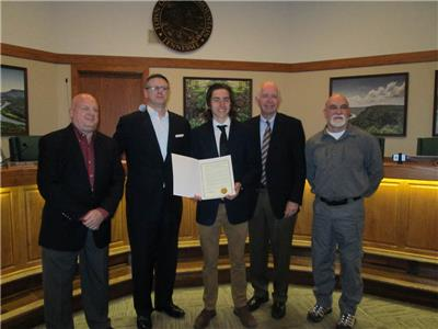 Jonah Bird is honored by the council