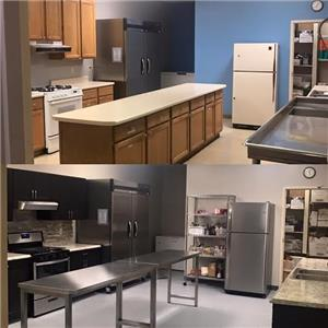 Before and after pictures of the kitchen renovation at Northside Neighborhood House