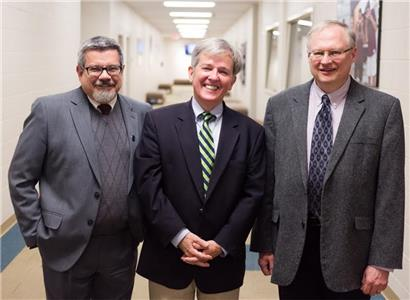 From left, Dr. Matthew Melton, dean of Lee's College of Arts & Sciences; Dr. Joel Kailing, chair of Lee's Department of Communication Arts; and Dr. Terry Lindvall