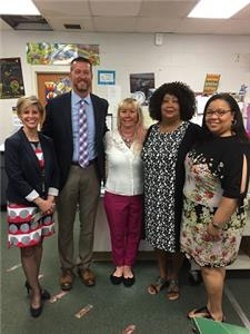 Pictured, left to right:  Karen Hollis, Bess T. Shepherd; Chris Neighbors, Hamilton Place Club president elect; Donna Horn, Hamilton Place Club member; Valerie Brown, Bess T. Shepherd principal; Shannon Braziel, Bess T. Shepherd
