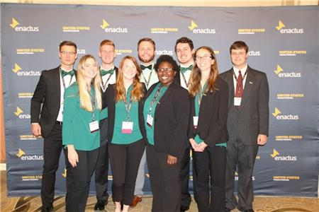 ENACTUS team from left, back row, Daniel Vonthin, Peter Urban, Logan Parsons, Cooper Ferguson, and Tomas Aleman. Front row, from left, Maebry McNeese, Abigail Brown, Shania Rogers, and Michaela Thomas.