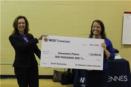 WGU Tennessee Chancellor Kimberly K. Estep, Ph.D. (right) and Cassandra Peters (left)