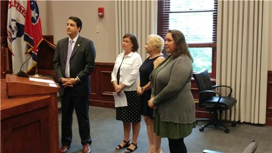 Commissioner Greg Martin is shown with Allyson DeYoung, Shawn Kurrellmeier-Lee and Elizabeth Marshall