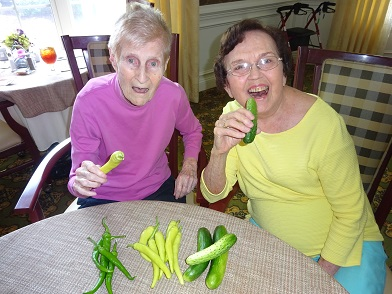 Morning Pointe of Chattanooga at Shallowford residents Jewel Hash and Jessie Lemay show off their fresh peppers and cucumbers from the courtyard garden at the assisted living community