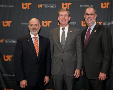 Joe DiPietro, president of the University of Tennessee; Dr. Steven Angle, chancellor of the University of Tennessee at Chattanooga; Robert Dooley, dean of the Gary W. Rollins College of Business