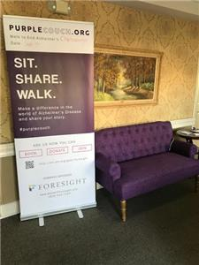 The purple couch provides an opportunity to voice thoughts, emotions, advice and personal stories about the impact of Alzheimer's Disease