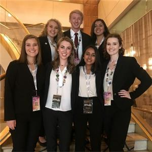 Pictured, left to right:  Ciera Smidt, Brooke Watne, Rachael Lane, Nathan Schofield, Bhumi Patel, Amy Carranza and Allison McCollum