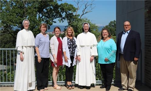 Pictured from left to right, are Sr. Scholastica Neimann, Selina Duncan, Martha Mitchum, Connie McNamara, Sr. Mary Joseph Wittman, Jennifer Strickler, David Carter