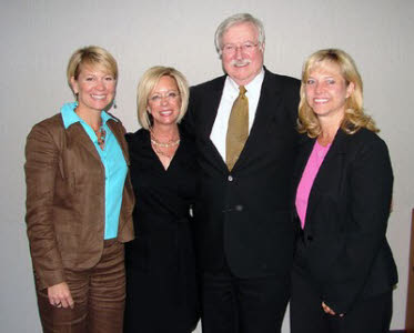Chancellor Howell Peoples was shown upon his retirement with Christie Sell, Cara Alday and Sherry Paty