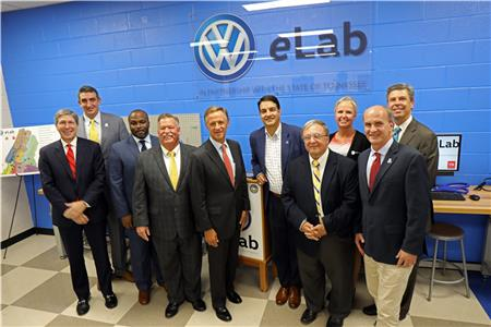 From left, State of Tennessee Commissioner of Economic and Community Development Bob Rolfe, PEF Director of Innovation Michael Stone, Superintendent of Hamilton County Schools Dr. Bryan Johnson, Hamilton County Mayor Jim Coppinger, Tennessee Governor Bill Haslam, Hamilton County Commissioner Greg Martin, Hamilton County Schools School Board Chair Steve Highlander, Volkswagen Chattanooga Senior Vice President Human Resources Nicole Koesling, PEF president Dan Challener, and City of Chattanooga Mayor Andy Berke