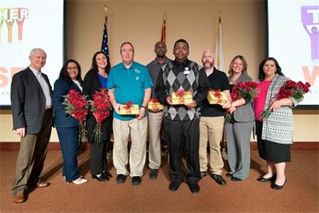 Pictured, left to right, are: Beecher Hunter, Life Care president; Herlinda Cartagena, certified nursing assistant at Life Care Center of Plano, Tx.; Marie Brantley, CNA at Heritage Health Care Center in Globe, Az.; Allen Phillips, CNA at Life Care Center of Pueblo, Co.; RJ Jones, physical therapy assistant at Life Care Center of Jacksonville, Fl.; Tyrone Bryant, maintenance director at Life Care Center of Hilton Head, SC; Joe Leal, nurse at Life Care Center of Treasure Valley in Boise, Id.; Tammi Conner, marketing director at Life Care Center of Osawatomie, Ks.; and Connie Costa, activities assistant at Life Care Center of Raynham, Ma.