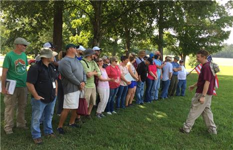 Dr. Drew Bledsoe, assistant professor of history at Lee, leading participants in a drill at the Chickamauga National Battlefield
