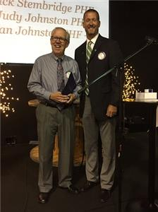 Alan Johnston, Paul Harris Fellow + 9, plus recipient of the Major Donor Status; and Chris Neighbors, HP Rotary Club president