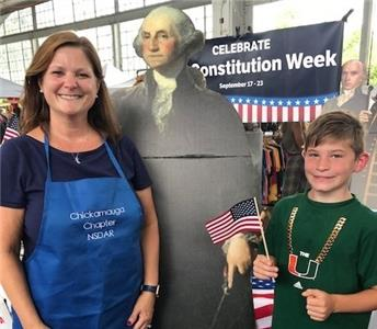 Cathy Gebhart, chair of U.S. Constitution Week, DAR Chickamauga Chapter, with third grader Carson O'Connor