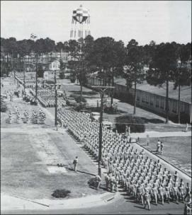 Future cadets marching at Keesler Field during World War II