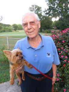 Dr. Wayne Shearer with dog Daisy