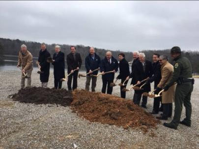 Breaking ground at Fall Creek Falls State Park are, from left, are Keith Pyle of Bell Construction; Bledsoe County Mayor Gregg Ridley; Lt. Gov. Randy McNally; Rep. Cameron Sexton; TDEC Deputy Commissioner Brock Hill; Deputy Gov. Jim Henry; Ann McGuaran, state architect; Rep. Kelly Keisling; Rep. Ron Travis; General Services Deputy Commissioner John Hull; Ron 