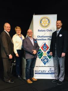 Pictured, from left to right: Harry Fields and Kari Schultz, Hamilton Place Rotary Club members; Michael Ayalon, speaker; and Chris Neighbors, Hamilton Place Rotary Club president