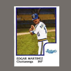 Newly elected Edgar Martinez as he appeared on his 1986 Baseball Card