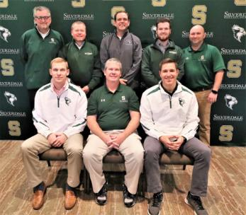 Jon Massey, seated center, is the new baseball coach at Silverdale Baptist Academy and eagerly awaits the start of the 2019 season. Massey used about an hour Tuesday talking baseball and introducing high school and middle school coaches. Flanking Massey, are varsity assistants Kevin Burke, left, and Taylor Hasty. Back row, Tim Thompson, Tim Daniell (head middle school coach), Rod Bolton, Collin Daniell and Gary Meadows.