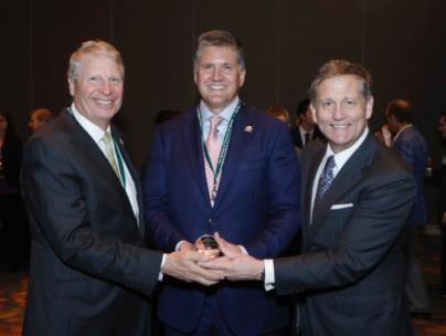 Pictured: left, Dr. Alan Speir, chair, STS Council on Health Policy and Relationships; middle, Dr. Rob Headrick; right, Dr. Keith Naunheim, 2018-2019 president, STS