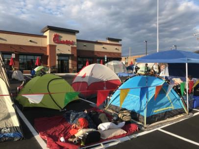 First 100 people camping out at a Chick-fil-A