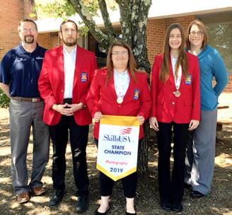 Cleveland State Community College SkillsUSA competitors brought home honors this past spring after relaunching their collegiate chapter of the organization. From left are Chuck Barkley, CSCC associate professor, Engineering Systems; Nathan Phillips (Technical Drafting); Tabitha Swallows, (Photography) Gold Medalist; Brittany Strickland, (Architectural Drafting) Bronze Medalist; and Jen Marx, CSCC coordinator of Student Life.