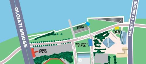 Riverbend Site Map for the 2020 Festival