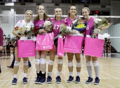 The Lady Flames recognized its senior members prior to Friday night's match with Union University. From left are Micaela McMichen, Mary Katherine Givhan, Bailey Kress, Quinne Daoust and Hanna Matthews.